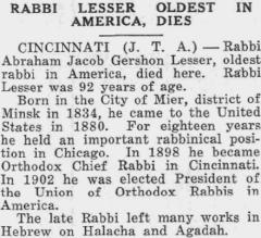 Rabbi Lesser Obituary 10.24.1924