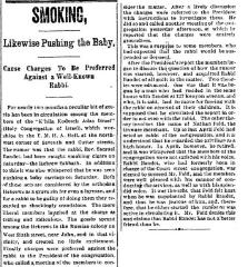 "Cincinnati Enquirer, ""Smoking, Likewise Pushing the Baby, Cause Charges to be Preferred Against a Well-Known Rabbi,"" article from 9/24/1894"