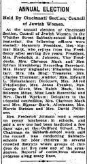 Article Regarding the Cincinnati Counsel of Jewish Women 1914 Annual Election