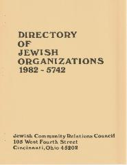 Jewish Community Relations Council - Directory of Jewish Organizations - 1982