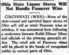 Article Regarding Sale of Passover Wines in Ohio in 1935 by Local Rabbis Rather than Ohio State liquor Stores