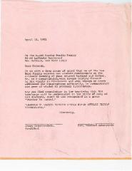 New Hope Congregation - Letter to the Besdin Family - 1982