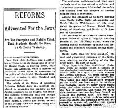"""Reforms Advocated for the Jews,"" article from 7/4/1904"