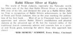 """Every Friday, """"Rabbi Eliezer Silver at Eighty,"""" article from 2/12/1960"""