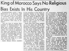 Article Regarding Letter Sent to Rabbi Eliezer Silver Requesting that American Rabbis welcome the King of Morocco on His State Visit to America