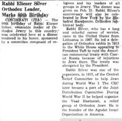 "Southern Israelite, ""Rabbi Eliezer Silver Orthodox Leader, Marks 80th Birthday"" article from 2/24/1961"