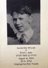 Program from the Second Bar Mitzvah of Ernst Kahn