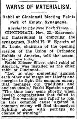 Rabbi Chaim Fishel Epstein Warns of Materialism at 1931 Installation of Rabbi Eliezer Silver as Chief Rabbi of Cincinnati