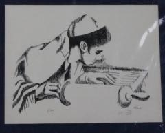 Drawing of a Boy Reading From a Torah by Ross