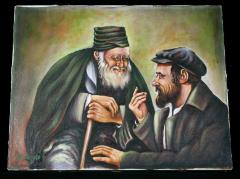 Painting of Two Men Talking, by J. Wohlrath