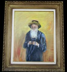 Painting of Elderly Jewish Man With Tefillin, by Evlyn