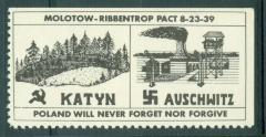 """Polish Stamp / Label """"Poland Will Never Forget Nor Forgive"""" - Katyn & Auschwitz"""