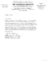 Letter from the American Israelite - 1985