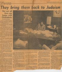 Article on the Cincinnati Chabad Movement and Rabbi Sholom B. Kalmanson 5.10.1977