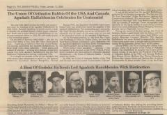 Article on 100th Anniversary of the Agudath HaRabbonim in 2012