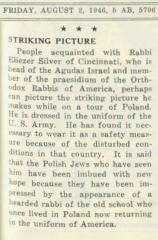 Article Regarding Rabbi Eleizer Silver's Trip to Post WWII Europe.  August 2, 1946, American Jewish Outlook (Pittsburgh, PA)