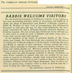 Article Regarding Vaad Hahatzala Fundraising Visit to Pittsburgh from the American Jewish Outlook (Pittsburgh, PA) 2.27.1942