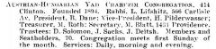 Bio of Austrian-Hungarian Yad Charuzim Congregation (Cincinnati, Ohio) from the American Jewish Year Book 1900 – 1901, 5661