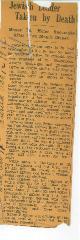 Article Regarding Death in 1932 of Moses E. Miller, Former President of Kneseth Israel (Cincinnati, Ohio)