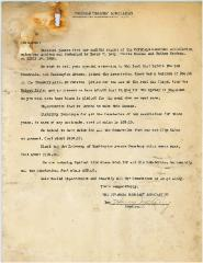 Letter Regarding 1944 Financial Report of Covedale Cemetery Association