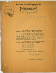 Letter from Kneseth Israel Congregation (Cincinnati, Ohio) to Hamilton County, Ohio Jail Regarding Free Jewish Burial for Deceased Inmates