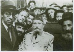 Rabbi Eliezer Silver with Unidentified Rabbi and Surrounded by Students in Europe in 1946 on his Visit to Displaced Persons Camps