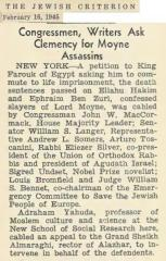 Article Regarding American Leaders (Including Rabbi Eliezer Silver) Seeking Clemency from the Death Sentence Imposed by Egypt on the Killers of Lord Moyne - February 16, 1945