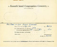 Statements for Cemetery Care for 1951-1952 for the Kneseth Israel Congregation Cemetery (Cincinnati, Ohio)