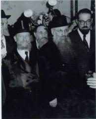 Rabbi Elizer Silver Smiling Underneath the Chuppah at an Unidentified Wedding