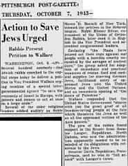 Article Regarding Petition to Vice President of the United States Wallace Beseeching the United States to Deliver European Jews From Extermination by the Nazis