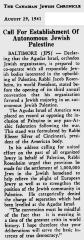 Article Regarding Agudath Israel of America's 1941 Calling for an Independent Jewish State