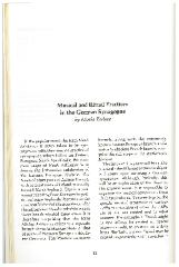 """Article by Rabbi Moshe Berlov on """"Musical and Ritual Practices in the German Synagogue"""""""