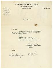 Letter from Jewish Community Council (Cincinnati, Ohio) Regarding 1941 Meeting
