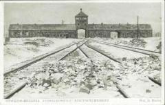 """Auschwitz-Birkenau Postcard Showing the Front Gates of Auschwitz Through Which Trains Entered the Camp (Referred to on the postcard as """"Gates of Death"""")"""