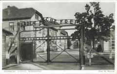 Auschwitz-Birkenau Postcard Showing the Main Gate to the Camp