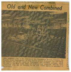 Article Regarding the Opening of the New Kneseth Israel Congregation Section Avenue (Cincinnati, Ohio) Synagogue Building in 1963