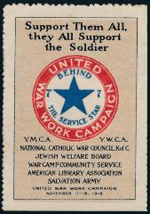 United War Work Campaign - Behind the Service Star 1918 Campaign Stamp