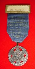 Jewish War Vetrans of the US Medal from the 14th National Encampment in Saratoga Springs, NY - 1935