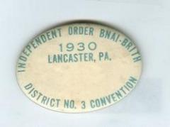 Independent Order of B'nai B'rith Pin from 1930 Lancaster, PA District No 3 Convention