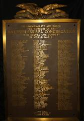 Plaque Commemorating and Honoring the Members of Kneseth Israel Congregation (Cincinnati, OH) who Served the USA in World War II