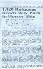 S.S. Navemar arrives in New York - newspaper clipping