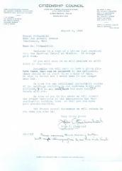 "Citizenship Council Letter written to Ernst ""Ernest"" Rothschild"