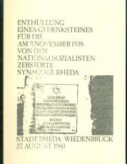 Unveiling of a memorial stone in Rheda - Weidenbruck, Germany