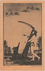 """E. M. Lilien Postcard """"Harfenspielerin"""" (""""Harpist"""")"""