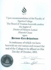 Honorary doctorates bestowed upon Rabbi Herman Schaalman