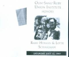 Olin-Sang-Ruby Union Institute (OSRUI) honors Rabbi Herman & Lotte Schaalman