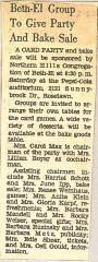 Northern Hills Synagogue (Beth El) Sponsors Card Party and Bake Sale 1962 (Cincinnati, OH)