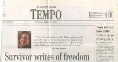 """Survivor writes of Freedom"" - article published in The Cincinnati Enquirer"