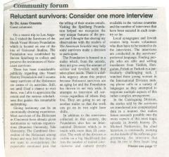 """Reluctant survivors: Consider one more Interview"" - article published in The American Israelite"