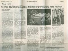 """""""Former Jewish Students at Heidelberg University hold reunion"""" - article published in The American Israelite"""